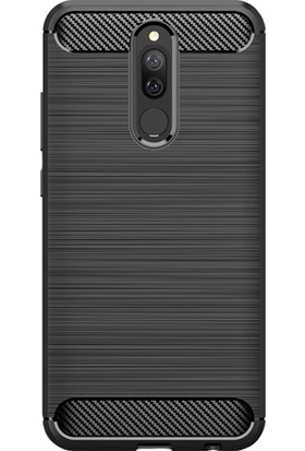 Microcase Xiaomi Redmi 8 Brushed Carbon Fiber Silikon Kılıf - Siyah