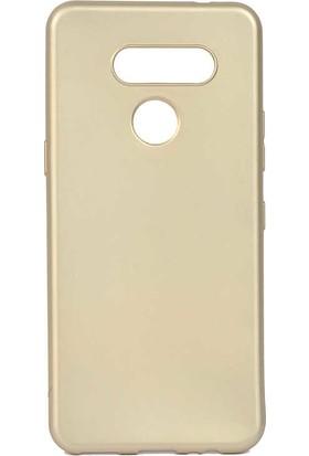 Tekno Grup LG K50s Kılıf Mat Premium Silikon Kılıf + Cam Ekran Koruyucu Gold