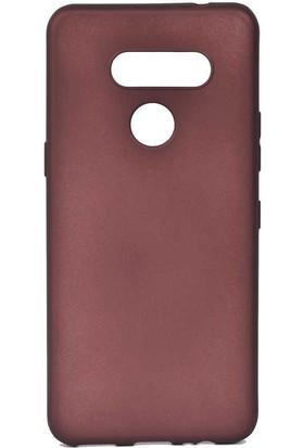 Tekno Grup LG K50s Kılıf Mat Premium Silikon Kılıf + Cam Ekran Koruyucu Bordo