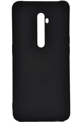 Tekno Grup Oppo Reno 2Z Kılıf Mat Premium Silikon Kılıf + Cam Ekran Koruyucu Siyah