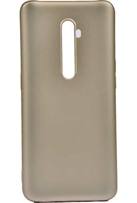 Tekno Grup Oppo Reno 2Z Kılıf Mat Premium Silikon Kılıf + Cam Ekran Koruyucu Gold