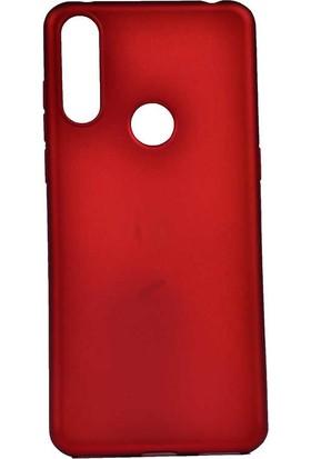 Tekno Grup Alcatel 3x 2019 Kılıf Mat Premium Silikon Kılıf + Cam Ekran Koruyucu Kırmızı