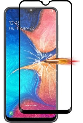 Casestore Samsung Galaxy A20 Esnek 5D Fiber Tam Kaplayan Nano Glass Ekran Koruyucu Cam - Siyah