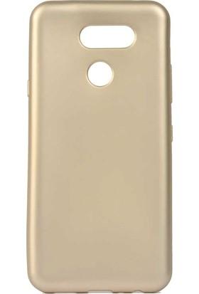 Tbkcase LG K50S Kılıf Premier Lüks Silikon Gold + Nano Ekran Koruyucu
