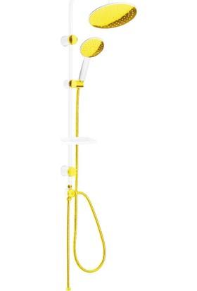 Lavella Robot Duş Seti 3 Fonksiyonlu Beyaz Gold Duş Takımı LVL036