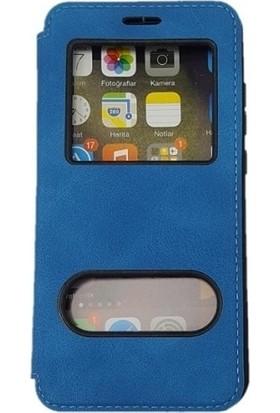 Kaltel Gsm Samsung Galaxy S3 mini Dolce Kapaklı Kılıf Pencereli Gizli Mıknatıslı + Nano Ekran Koruyucu - Mavi