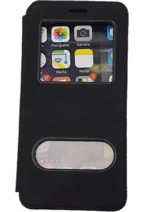 Kaltel Gsm Samsung Galaxy S3 mini Dolce Kapaklı Kılıf Pencereli Gizli Mıknatıslı + Nano Ekran Koruyucu - Siyah