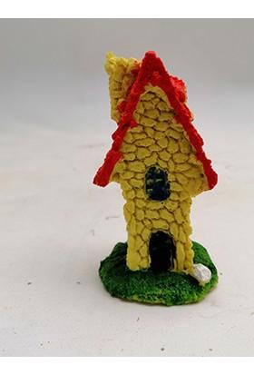 Ender Peyzaj Teraryum ve Minyatür Bahçeler Için Taş Ev Kırmızı Minyatür Obje