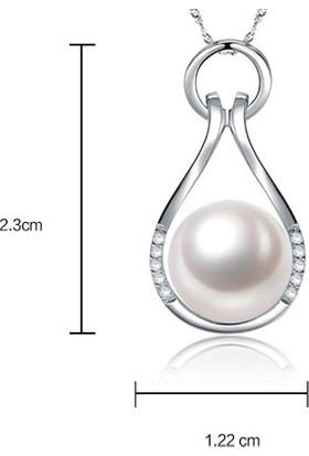 Enes Store Gümüş İnci Tasarımlı Bayan Gümüş Kolye