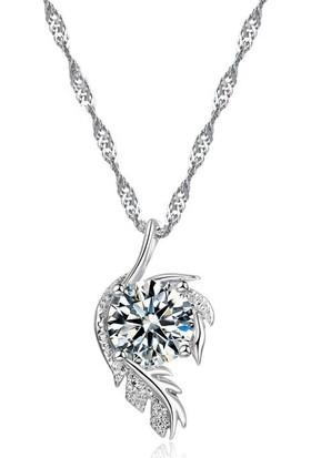 Enes Store Gümüş Kristal Zirkon Taşlı Yaprak Tüy Tasarım Bayan Kolye