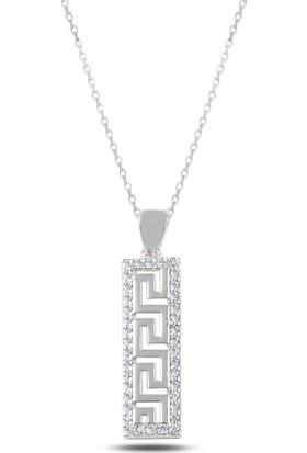 Enes Store 925 Ayar Gümüş Grek Desen Zirkon Taşlı Bayan Gümüş Kolye