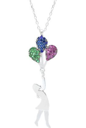 Enes Store Gümüş Balonlu Kız Gümüş Kolye Uçan Balon Kız Kolye