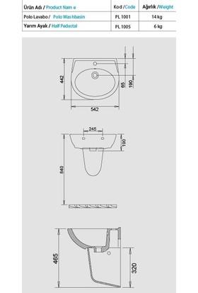Turavit Polo Yarım Ayak Lavabo 45X55