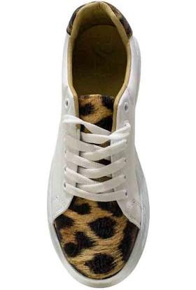 Ebru Şallı Leopar Desenli Beyaz 36 Numara Sneaker