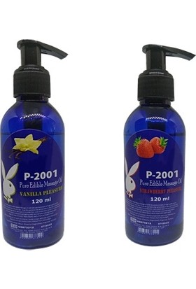 P-2001 Vanilya Aromalı Yağ, Çilek Aromalı Masaj Yağı 2 Li Set