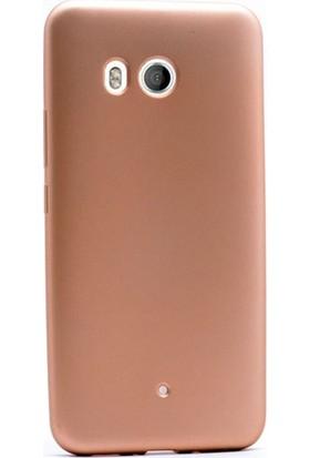 Case Street HTC U11 Kılıf Premier Silikon Kılıf Mat Kılıf + Nano + Kalem Ekran Koruyucu Gold