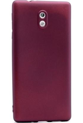 Case Street Nokia 3 Kılıf Premier Silikon Kılıf + Nano + Kalem Koruyucu Mürdüm