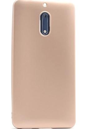 Case Street Nokia 6 Kılıf Premier Silikon Kılıf + Nano + Kalem Koruyucu Gold