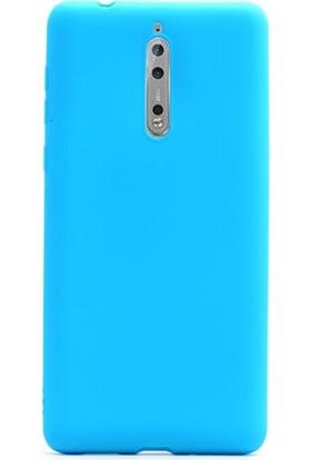Case Street Nokia 8 Kılıf Premier Silikon Kılıf + Nano + Kalem Koruyucu Mavi