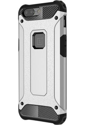 Case Street One Plus 5T Kılıf Crash Zırh Koruma + Nano + Kalem Gümüş
