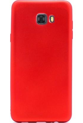 Case Street Samsung Galaxy C9 Pro Kılıf Premier Silikon + Nano + Kalem Kırmızı