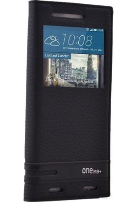 Case Street HTC One M9 Plus Kılıf Elite Gizli Mıknatıslı Kapaklı + Nano + Kalem Siyah