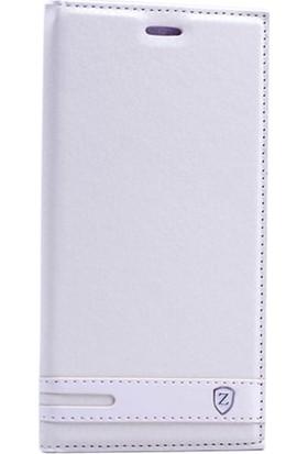 Case Street Nokia 6 Kılıf Elite Gizli Mıknatıslı Kapaklı + Nano + Kalem Beyaz