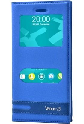 Case Street Vestel Venus V3 5070 Kılıf Elite Mıknatıslı + Nano + Kalem Mavi