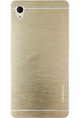 Case Street Sony Xperia Z5 Kılıf Metal Motomo + Nano + Kalem Koruma Gold