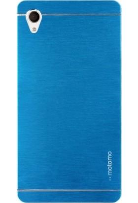 Case Street Sony Xperia Z5 Premium Kılıf Metal Motomo + Nano + Kalem Mavi