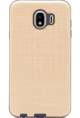 Case Street Samsung Galaxy J4 Kılıf New Youyou Sert Lüx Silikon + Nano + Kalem Gold