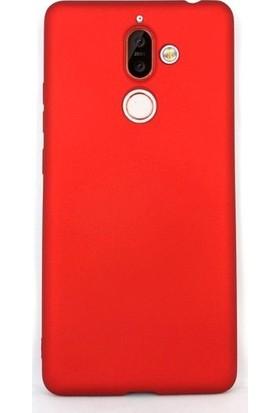 Case Street Nokia 7 Plus Kılıfları Kılıf Premier Silikon Koruma + Nano + Kalem Kırmızı