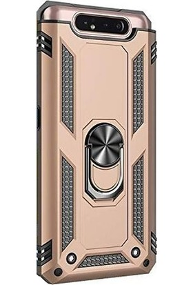 Case Street Samsung Galaxy A80 Kılıf Vega Standlı Yüzüklü Mıknatıslı + Nano + Kalem Gold