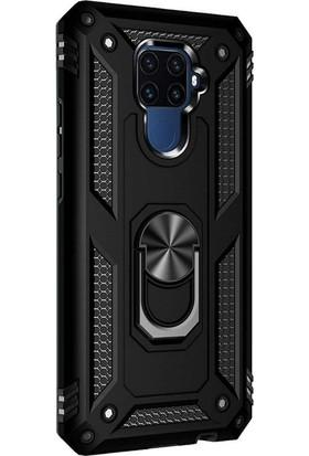 Case Street Huawei Mate 30 Lite Kılıf Vega Standlı Yüzüklü Mıknatıslı + Nano + Kalem Siyah