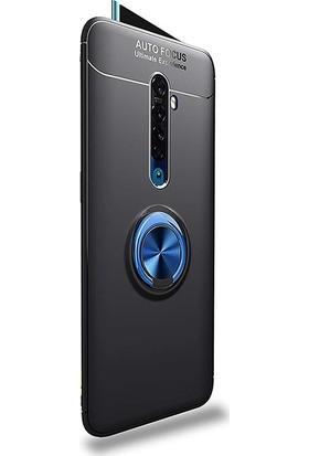 Case Street Oppo Reno 2 Kılıf Ravel Yüzüklü Mıknatıslı Silikon + Nano Glass Mavi