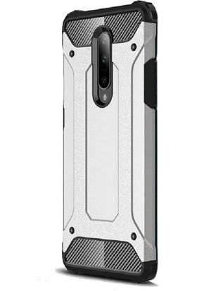 Case Street OnePlus 7 Pro Kılıf Crash Tank Çift Katman Koruyucu Gümüş
