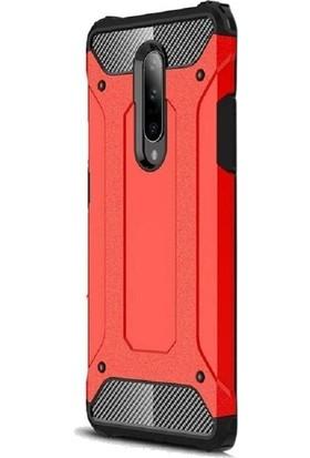 Case Street OnePlus 7 Pro Kılıf Crash Tank Çift Katman Koruyucu Kırmızı