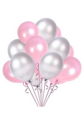 Parti Burada Metalik Sedefli Balon Pembe-Gold-Beyaz-Gümüş Balon 30 Lu