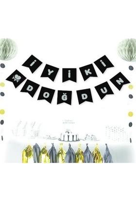Datapos Siyah - Gümüş Iyiki Doğdun Banner