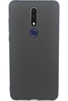 Case 4U Nokia 3.1 Plus Kılıf Mat Silikon Lüks Arka Kapak Premier + Cam Ekran Koruyucu Siyah