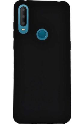 Case 4U Alcatel 3X 2019 Kılıf Mat Silikon Lüks Arka Kapak Premier + Cam Ekran Koruyucu Siyah
