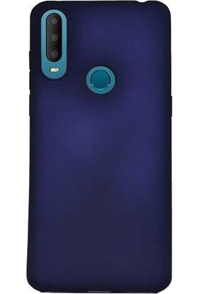 Case 4U Alcatel 3X 2019 Kılıf Mat Silikon Lüks Arka Kapak Premier + Cam Ekran Koruyucu Lacivert