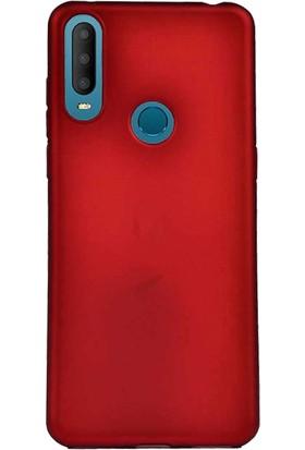 Case 4U Alcatel 3X 2019 Kılıf Mat Silikon Lüks Arka Kapak Premier + Cam Ekran Koruyucu Kırmızı