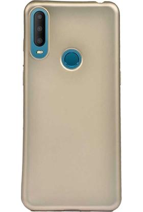 Case 4U Alcatel 3X 2019 Kılıf Mat Silikon Lüks Arka Kapak Premier + Cam Ekran Koruyucu Altın