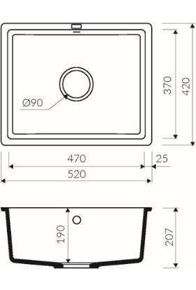 Marmorin Lando Tezgaha Sıfır Granit Eviye 520 1k