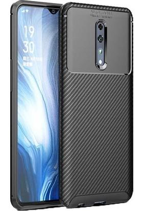 Tekno Grup Oppo Reno Z Kılıf Karbon Desenli Lux Negro Silikon + Cam Ekran Koruyucu Siyah
