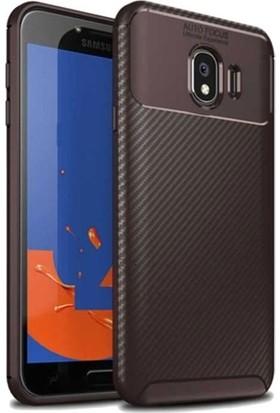 Tekno Grup Samsung Galaxy J4 Kılıf Karbon Desenli Lux Negro Silikon + Tam Kaplayan 6D Nano Ekran Koruyucu Kahverengi