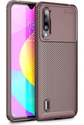 Tekno Grup Xiaomi Mi A3 Kılıf Karbon Desenli Lux Negro Silikon + Tam Kaplayan 6D Nano Ekran Koruyucu Kahverengi