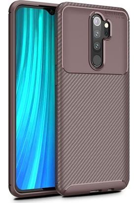 Tekno Grup Xiaomi Redmi Note 8 Pro Kılıf Karbon Desenli Lux Negro Silikon + Tam Kaplayan 6D Nano Ekran Koruyucu Kahverengi