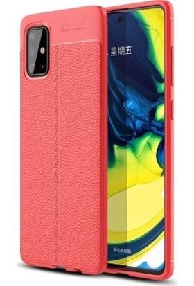 Tbkcase Samsung Galaxy A51 Kılıf Deri Dokulu Silikon Kırmızı